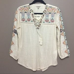 Lucky Brand Bohemian Blouse with Tassels